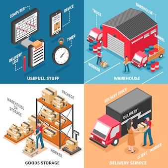 Logistica 2x2 concetto di design isometrico