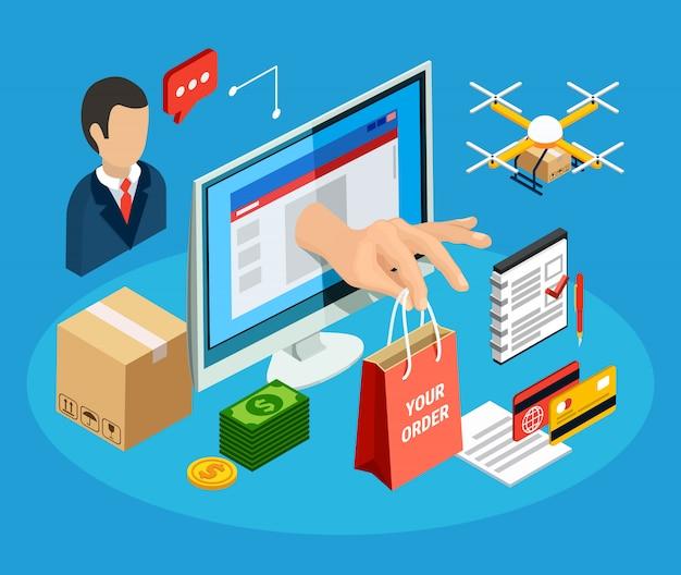 Logistica con illustrazione isometrica 3d di servizio di consegna online