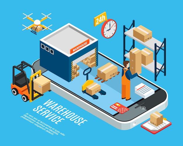 Logistica con servizio di consegna del magazzino sull'illustrazione isometrica blu 3d