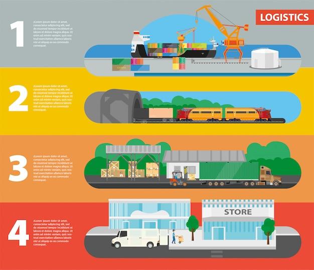 Logistica concetto graduale di consegna al negozio