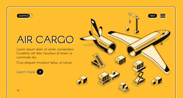 Logistica del carico aereo e illustrazione di consegna del trasporto nella linea sottile nera isometrica su giallo