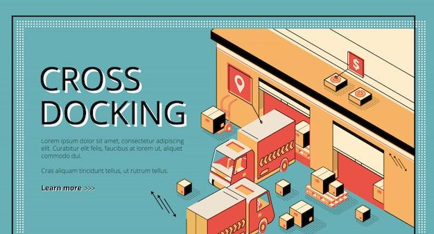 Logistica di cross docking. camion che ricevono e spediscono merci, processo di magazzino, trasporto merci.