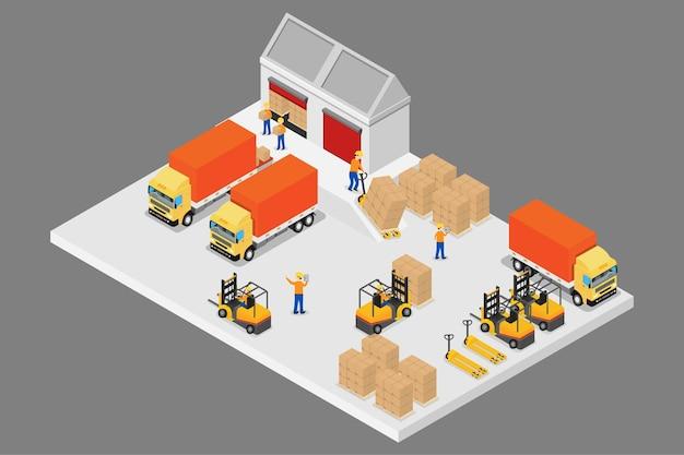 Logistica e magazzino isometrici 3d