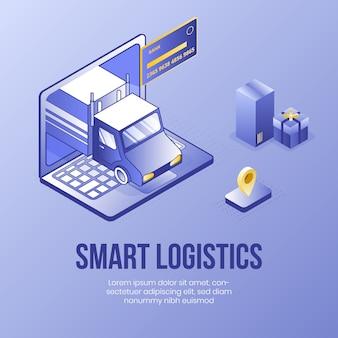 Logistica intelligente. concetto di design isometrico digitale