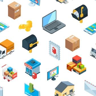 Logistica isometrica consegna icone modello sfondo