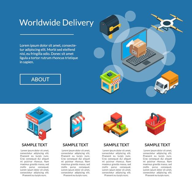 Logistica isometrica di vettore e consegna modello di pagina di destinazione