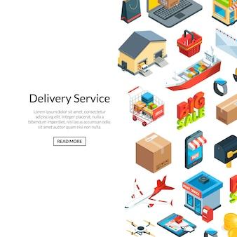 Logistica isometrica e consegna icone sfondo