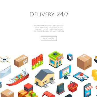 Logistica isometrica e icone di consegna. commercio su internet 3d
