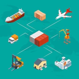 Logistica marittima isometrica e illustrazione infografica porto marittimo