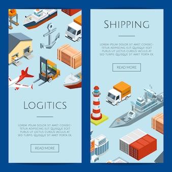 Logistica marittima isometrica e modelli di banner web porto marittimo