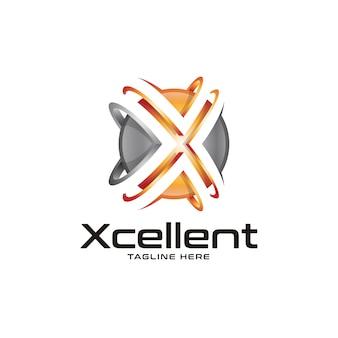 Logo 3d di sfera e lettera x.