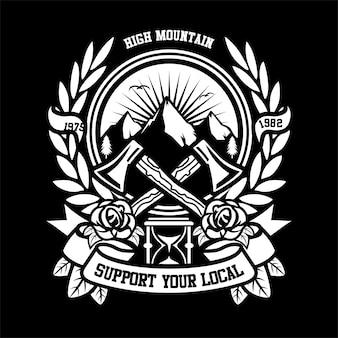 Logo a tema montagna emblema all'aperto con strumenti e asce