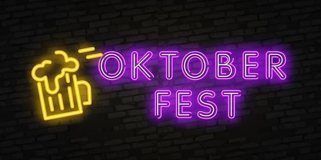 Logo al neon dell'oktoberfest