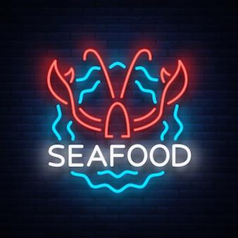 Logo al neon di frutti di mare