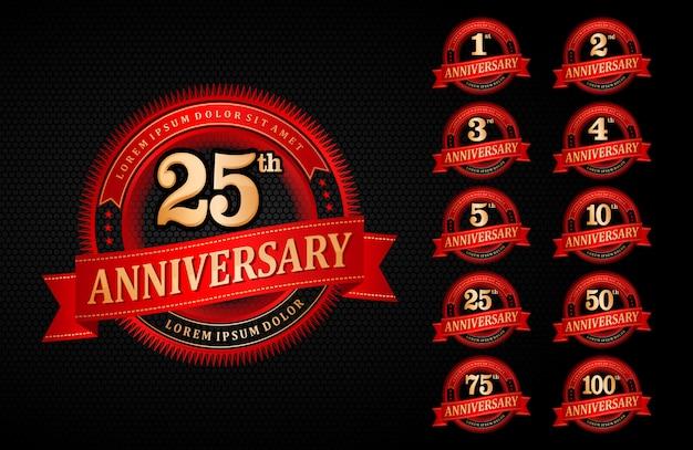 Logo anniversario emblema rosso gradiente stile elegante