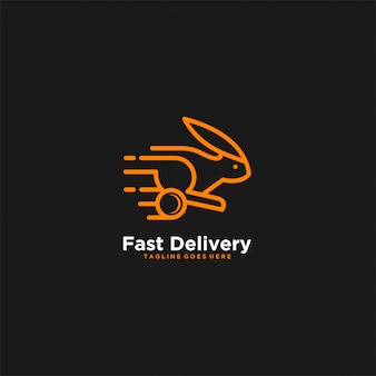 Logo arancione dell'illustrazione di colore del coniglio di consegna veloce.