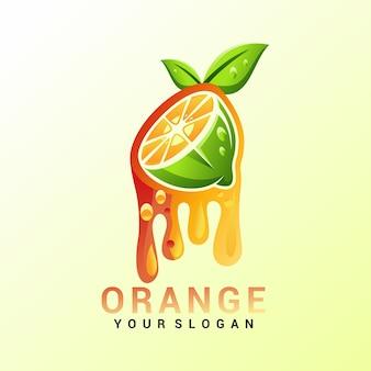 Logo arancione vettoriale, modello, illustrazione