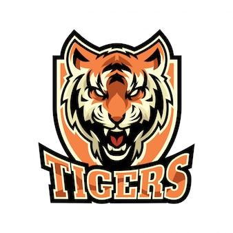 Logo arrabbiato della mascotte della tigre