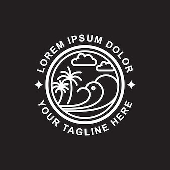 Logo art line beach design