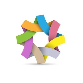 Logo astratto ciclo infinito, origami di carta 3d
