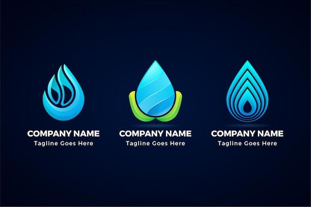 Logo astratto creativo dell'icona della goccia di acqua isolato da fondo.