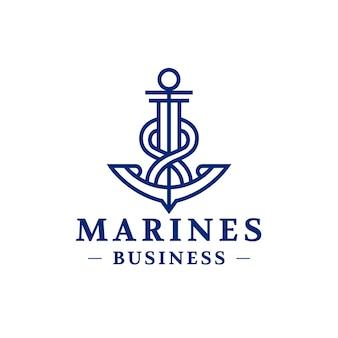 Logo astratto della linea di ancoraggio