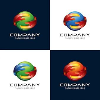 Logo astratto di mano e cerchio