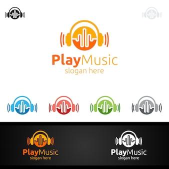 Logo astratto di musica con il concetto di nota e gioco