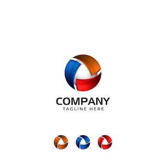 Logo astratto tecnologia 3d