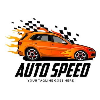 Logo auto velocità con ispirazione di design di fiamma