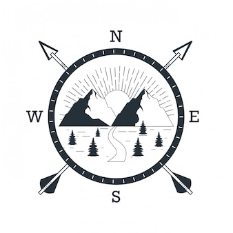 Logo avventura di montagna