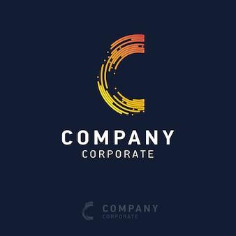 Logo aziendale c design con biglietto da visita vettoriale