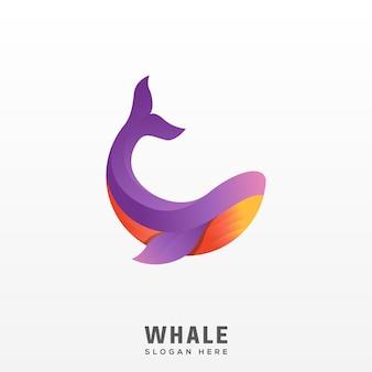 Logo balena gradiente moderno