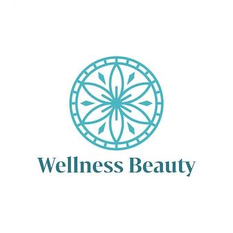 Logo benessere con un design moderno semplice e pulito con un elegante stile artistico per massaggi yoga o spa