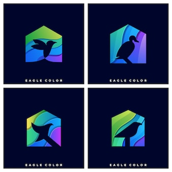Logo bird with house