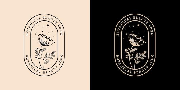 Logo botanico femminile e floreale disegnato a mano adatto per boutique di bellezza per capelli pelle salone spa e azienda cosmetica