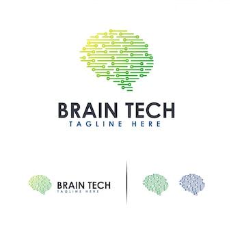 Logo brain tech logo mind technology, modello di logo del cervello robotico