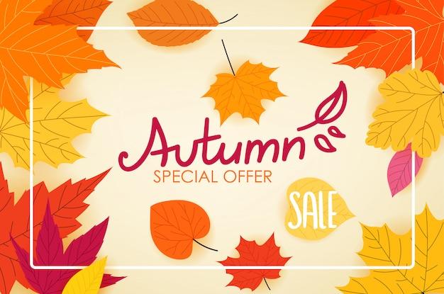 Logo calligrafico di vendita di autunno con foglie di autunno di colore