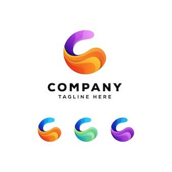 Logo colorato astratto lettera c.