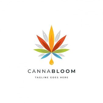Logo colorato di canapa o canapa