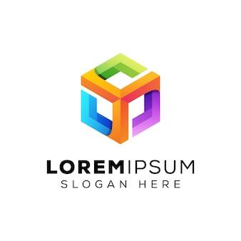 Logo colorato di ispirazione esagonale, modello moderno di logo della scatola di hexa