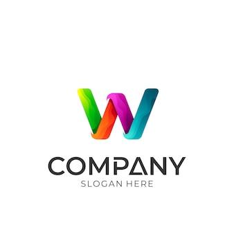 Logo colorato iniziale lettera w