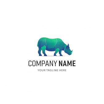 Logo colorato rhino. logo animale stile sfumato