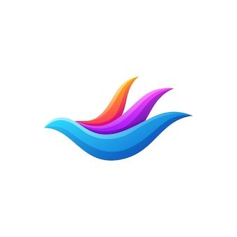 Logo colorato uccello volante design