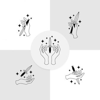 Logo coltello mano modello editabile boho design