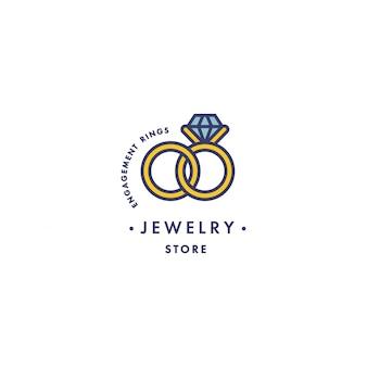 Logo con anelli di fidanzamento con design gemma blu in stile lineare alla moda in colori colorati