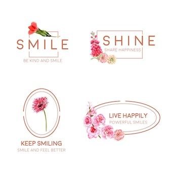 Logo con bouquet di fiori design per il concetto di giornata mondiale del sorriso per il branding e il marketing illustrativo di vettore dell'acquerello.