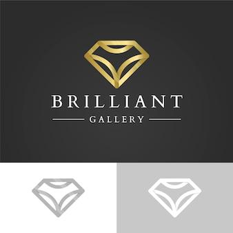 Logo con diamante dorato brillante con diamante