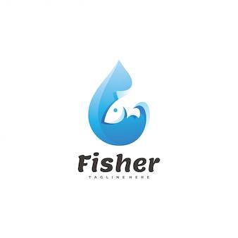 Logo con gocce d'acqua e pesce
