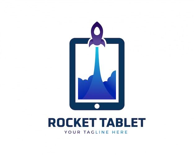 Logo creativo del tablet a razzo